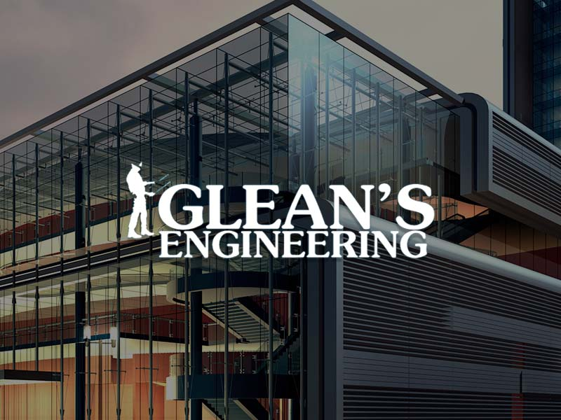Glean's Construction & Engineering Ltd Logo over the architectural design of a building