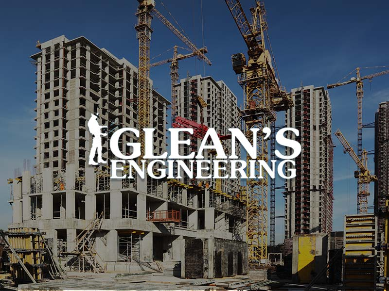 Glean's Construction & Engineering Ltd Logo over the building construction site